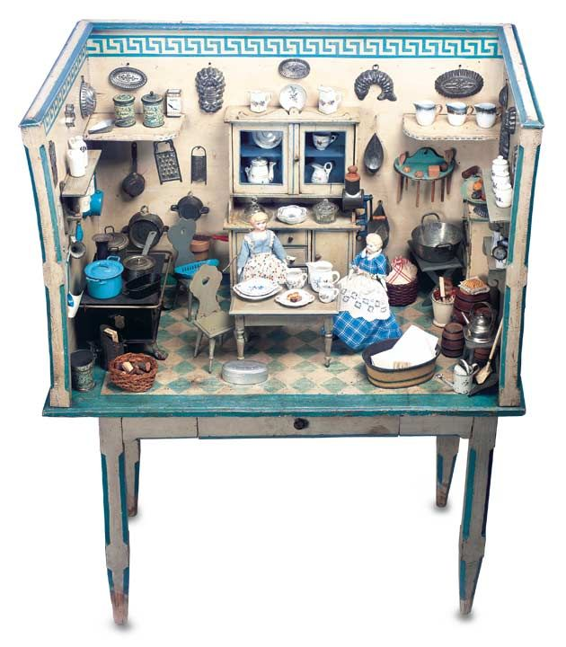 German Wooden Doll House Kitchen on Original Stand with Original Furnishings (Theriault $5000)