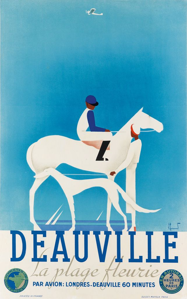 swanngalleries:  PIERRE COMMARMONDDEAUVILLE / LA PLAGE FLEURIECirca 1930.From Rare & Important Travel Posters