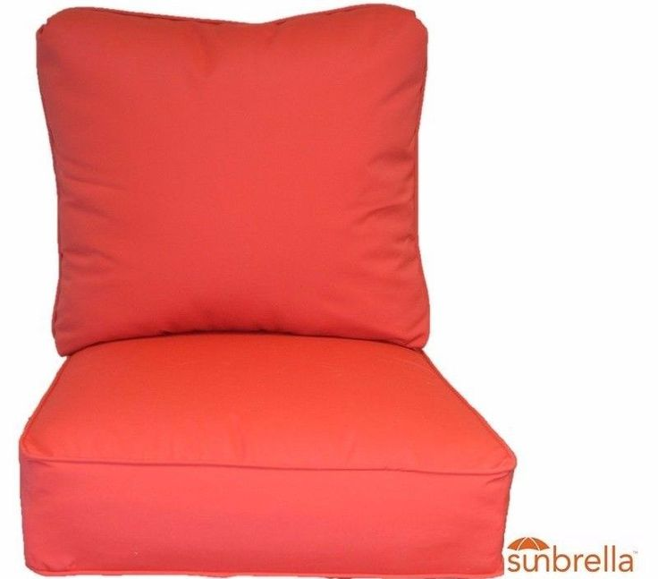 In / Outdoor Sunbrella Jockey Red Deep Seating Chair Cushion 2 Pc Set