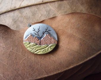 Metales mezclados paisaje árbol de la vida colgante con por LMArts