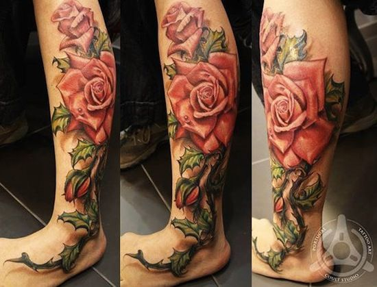 roses on calf by Led Coult Tattoo, Brasil | rose tattoo for men