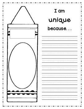 "A fun page to go along with the book ""The Crayon Box that Talked"".  Students can put their name and portrait on the crayon and write how they are unique.  Hang in your room or create a class book to show how a class needs all the different students to be complete.Fonts by Kimberly Geswein"