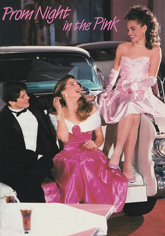 'On the night you want to be perfect, go for a romantic prom look in your favorite shade of pink.' (1989) #80sprom
