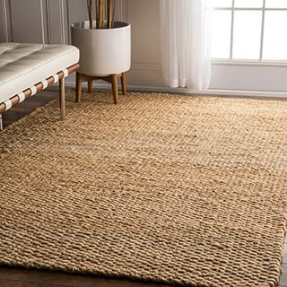 LNR Home Natural Fiber Rectangle Jute Solid Area Rug (5'3 x 7'5) - 14275206 - Overstock.com Shopping - Great Deals on 5x8 - 6x9 Rugs
