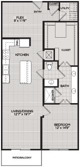 Floorplans A2 1 BEDROOM 1 BATH