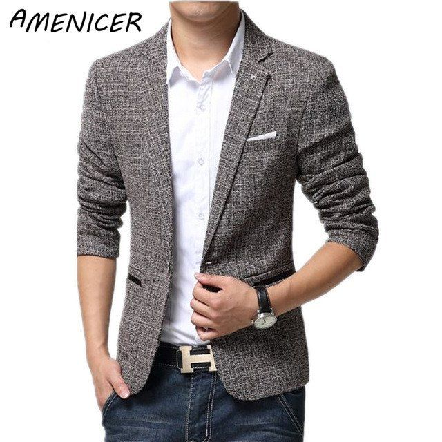British's Style New Brand Blazer Men Linen Casual Suit Mens