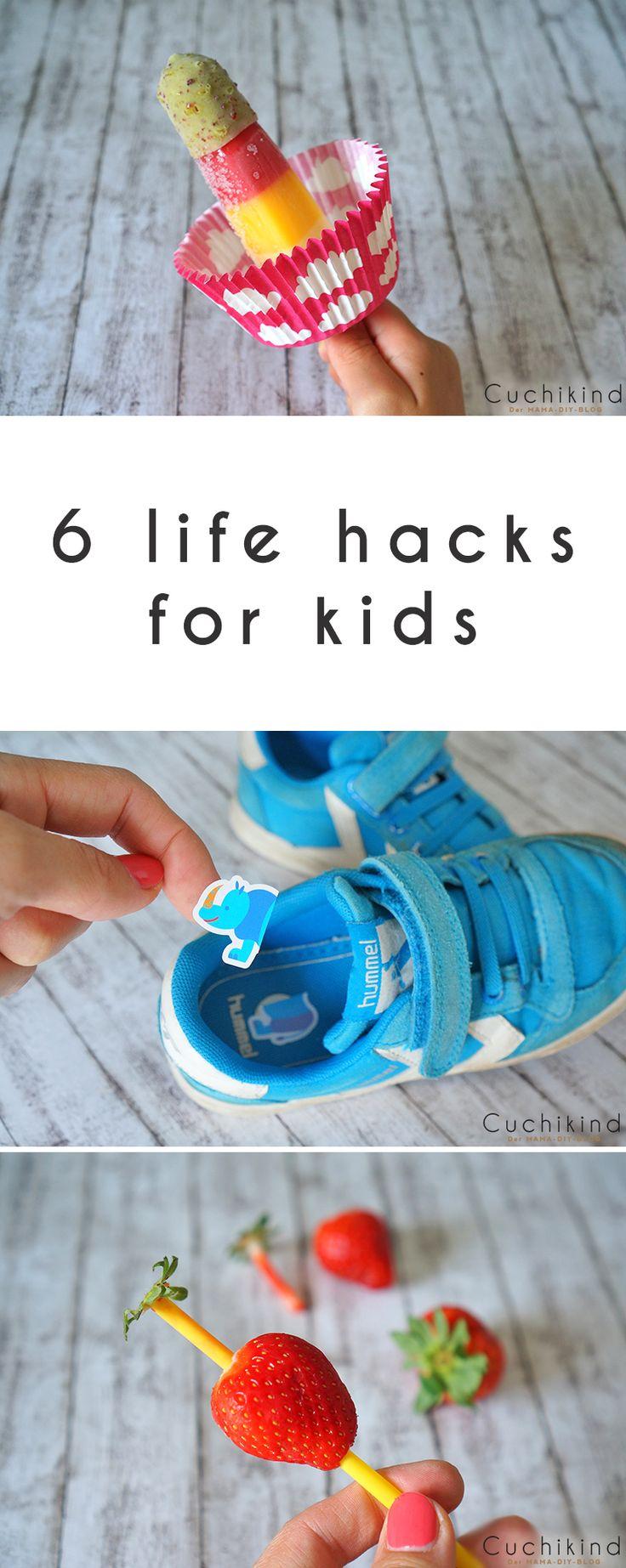 6 life hacks für kids, 6 Tricks für Kinder: Schuhaufkleber, Tropfhilfe, Badetiere, Fruchtwürfel, Insektenschutz und Erdbeerstrunkentferner.