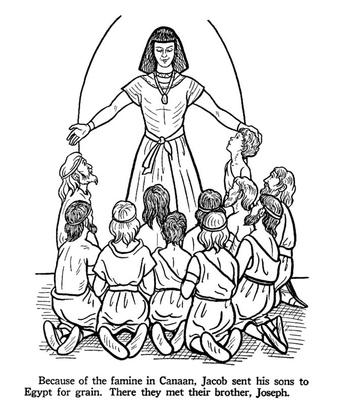 Joseph's brothers come to Egypt during the famine to get food. Bible coloring page
