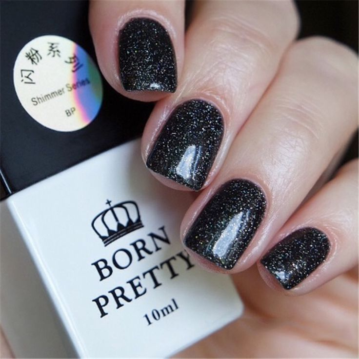 BORN PRETTY Black Glitter Gel Polish 10ml Soak Off Shining Nail Art UV Gel Varnish Tips Color #8