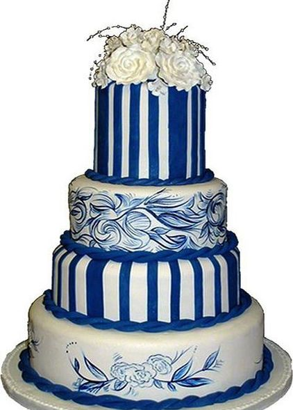 Blue and White Wedding Cake