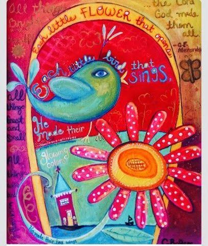 Paper Moon Glitter Stars...: Bird and Flower painting