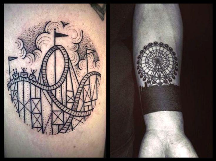 Originali tatuaggi con ruote panoramiche, giostre e rollercoaster 20