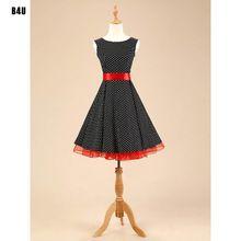 Vestido Vintage sin mangas del verano, algodón vestidos 50 s 60 s Rockabilly Pin up oscilación del partido del estilo lunares mujeres vestidos VD0107(China (Mainland))