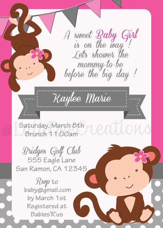 Monkey Babyshower Invitation/ Pink / 5x7 / Printable Digital File