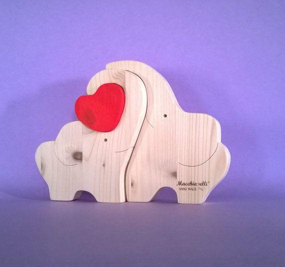 Puzzle animali elefanti in legno puzzle in legno puzzle cuore innamorati san valentino regalo coppia elefantini innamorati (Cod. PUZ006)