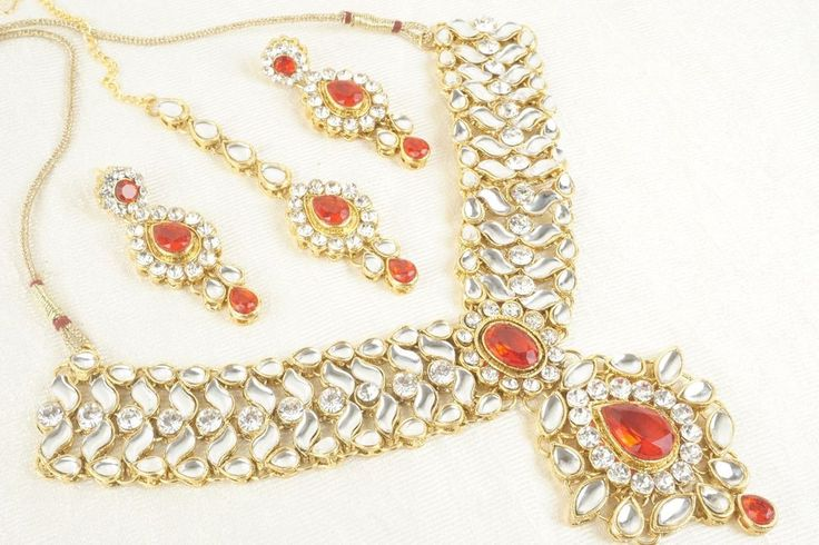Bollywood Style Indian Gold Plated Fashion Jewelry Designer Bridal Necklace Set #Unbranded #Bib