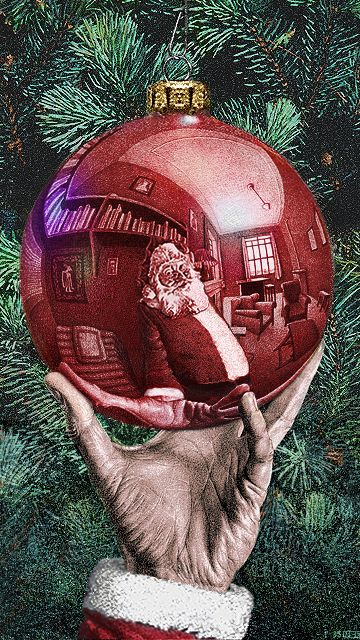 "parody of M.C. Escher's ""Hand with Reflecting Globe"" (Photoshop Design by bpkelsey)"
