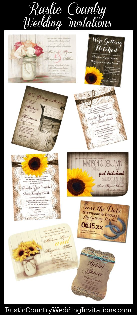 Rustic Country Wedding Invitations, Save the Date Postcards, Bridal Shower Invites, and Custom Postage Stamps for your rustic, vintage, or country themed wedding. #countrywedding