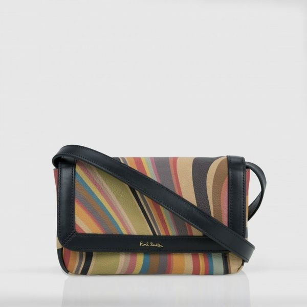 Paul Smith women's swirl print calf leather cross-body bag with black  leather trim and a removable, adjustable shoulder strap.