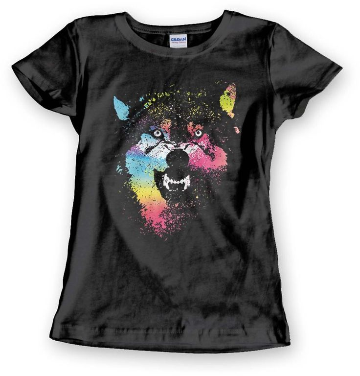 Growling Wolf  T Shirt Neon Rainbow Wild Animal Womens Cute Top - Free Shipping #PitStopShirtShop #GraphicTee