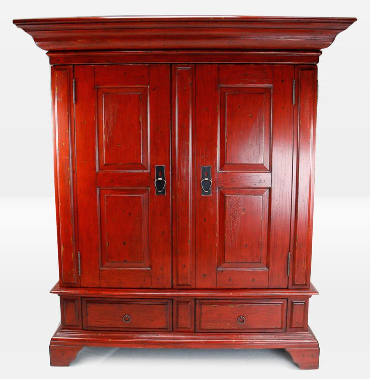 Pottery Barn Campton Media Armoire Cabinet Ming Red