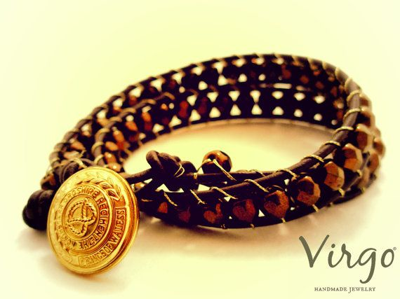 Handmade Double Leather Crystal Beads and Golden Button Bracelet.  Size: approx. 38cm   We can resize for you, all of our jewelries, so feel free to ask!  Τhe bracelet comes in a gift box!  Do you like this item? See more at: https://www.etsy.com/shop/VirgoHandmadeJewelry  Like us on Facebook:  https://www.facebook.com/VirgoHandmadeJewelry  or   follow us on Pinterest: www.pinterest.com/VirgoJewelry   Thanks for stopping by - Virginia
