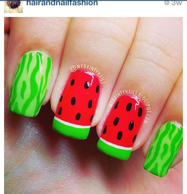 Cute nail design for summer i love this idea! id have to do it on.  Watermelon ... - Best 25+ Watermelon Nail Designs Ideas On Pinterest Watermelon