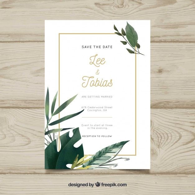 Piękne Zaproszenie Na ślub Darmowych Wektorów Wedding