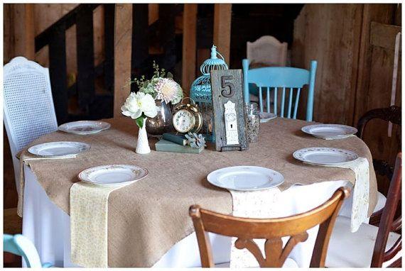 Pack 6 di overlay tavolo quadrato della tela da imballaggio da 50 cm X 50 cm - Qty 6 tovaglie - tovaglia di nozze