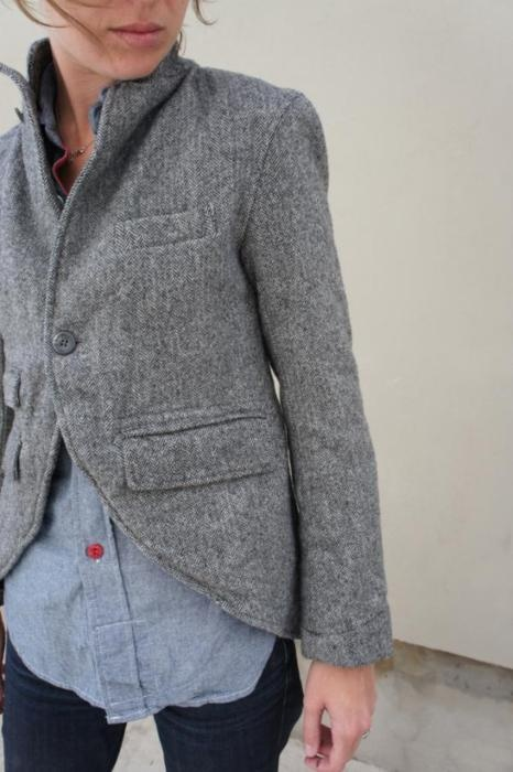 I like the cut on the front hem of the blazer.  I had a tailor do this to three of mine, it changes them completely!