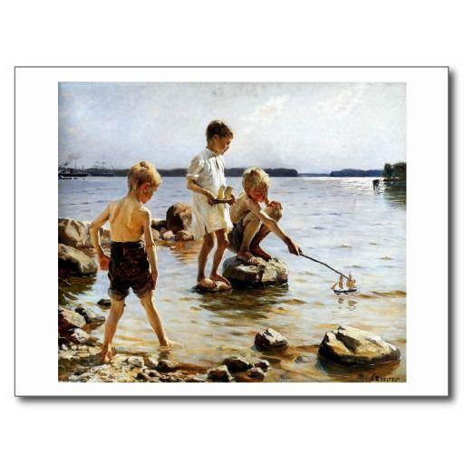 Jongens die bij het strand spelen wens kaart