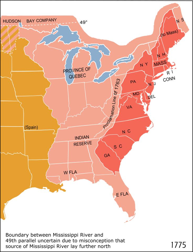 """Eastern North America in 1775. The British Province of Quebec, the Thirteen Colonies on the Atlantic coast, and the Indian Reserve as defined by the Royal Proclamation of 1763. The 1763 """"Proclamation line"""" comprises the border between the red and the pink areas, while the orange area represents the Spanish claim"""