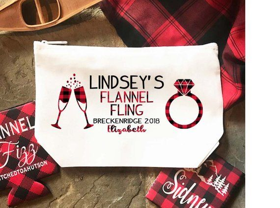 Flannel and Fizz Party Make Up bag. Great Bachelorette or Girls Weekend Favors. …
