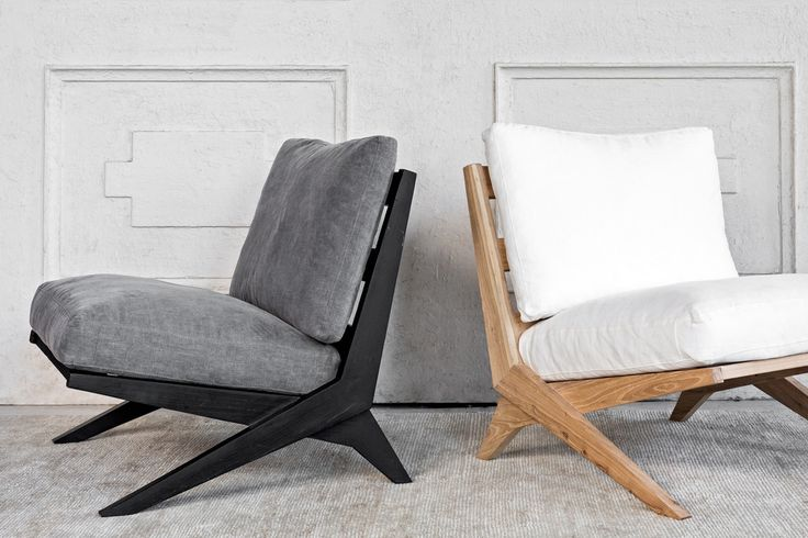 Nature Boy chair stone and black frame, left, white and natural frame, right