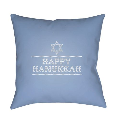 Blue Happy Hanukkah II 18-Inch Throw Pillow with Poly Fill