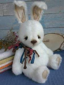 ROJER By Irina Stepanko - Funny rabbit Rojer is looking for a real friend. Handmade of viscose and filled with sawdust.