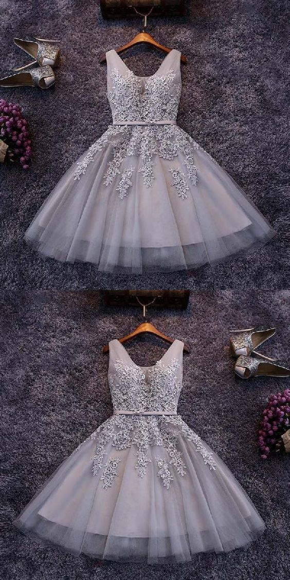 Tulle Homecoming Dresses,Appliqued Homecoming Dresses,Short Homecoming Dress,Lace Homecoming Dresses C65