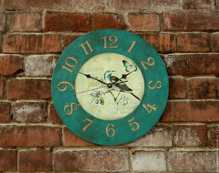 """Купить Большие интерьерные часы """"Изумрудный сад"""" часы настенные - морская волна, тёмно-бирюзовый"""