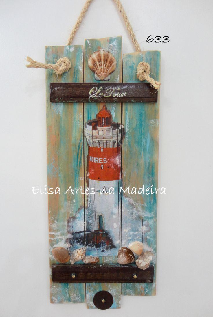 Farol madeira envelhec e mad demolição, corda, conchas e metais. Elisa Artes na Madeira. Curitiba/PR - Brasil (41) 9940-4194