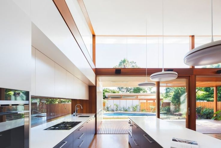 Clerestory windows flood the living area with natural light