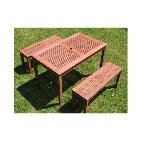 4 seater bench chairs and table set outdoor wooden dining garden patio furniture