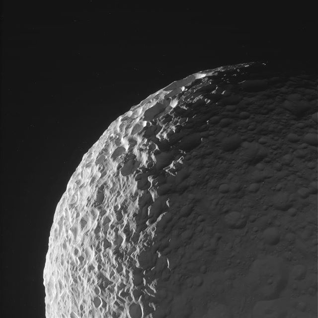 nasa This image taken Tuesday and received on Earth today by our Cassini spacecraft is of Saturn's moon Mimas. Less than 123 miles (198 km) in mean radius, crater-covered Mimas is the smallest and innermost of Saturn's major moons. It is not quite big enough to hold a round shape, so it is somewhat ovoid with dimensions of 129 x 122 x 119 (miles 207 x 197 x 191 km, respectively). Its low density suggests that it consists almost entirely of water ice, which is the only substance ever detected…