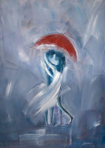 oil painting 'Dancing in the rain'.  Artist:  Marek Langowski