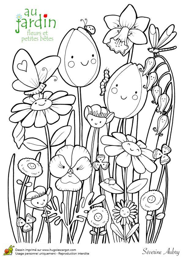 Coloriages jardinage fleurs et petites betes