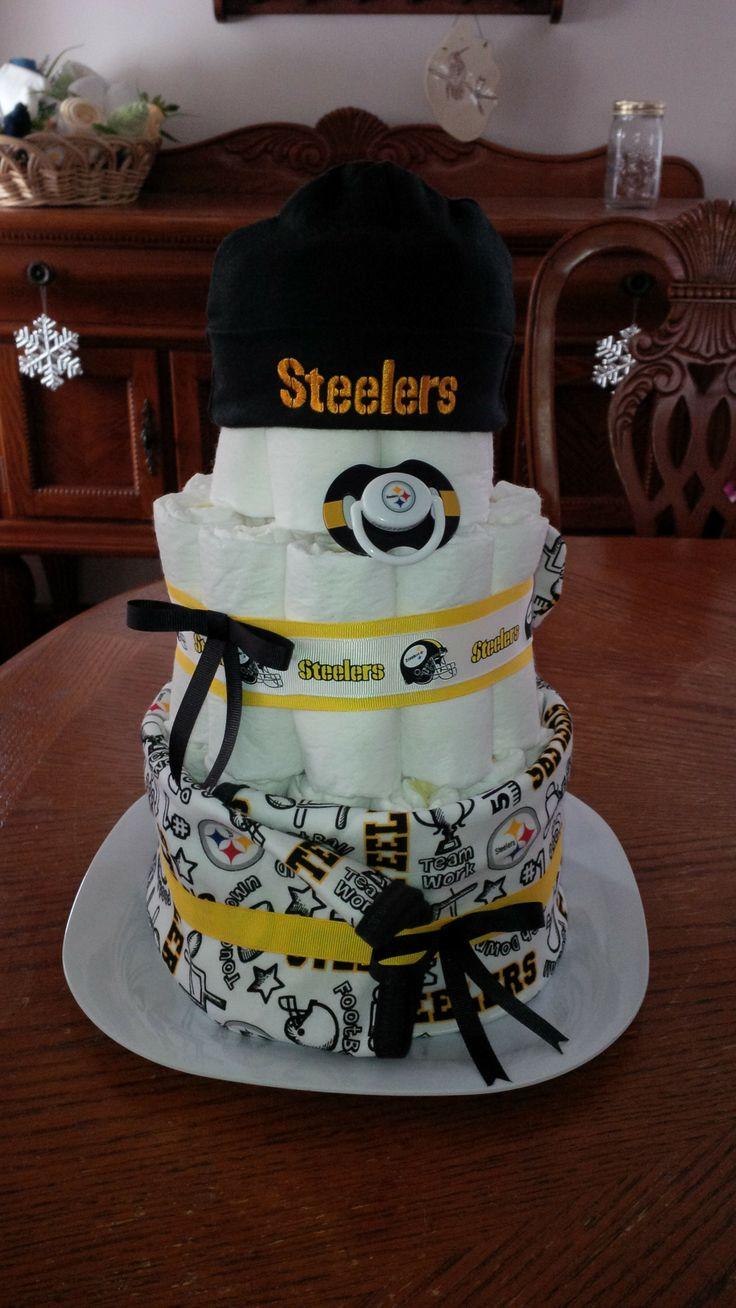 Pittsburgh Steelers Diaper Cake - Steelers Blanket, Booties, Cap, and Pacifier