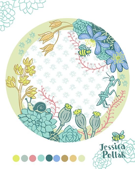 Succulent and critter plate- Home Decor week from Lilla Rogers class