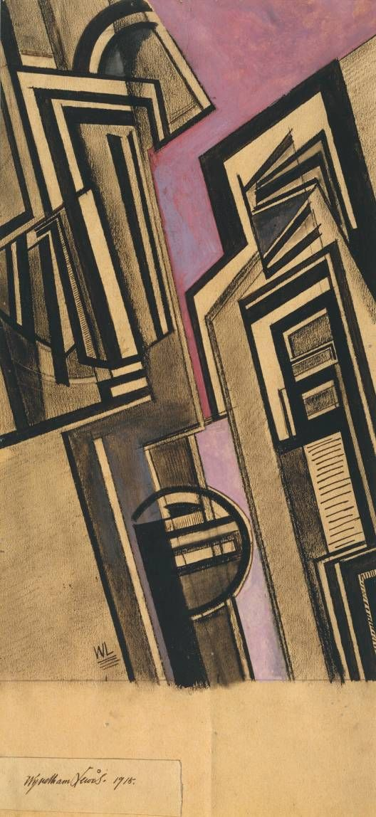 Artist Wyndham Lewis (1882‑1957) Title Vorticist Composition Date 1915 Medium Gouache and chalk on paper Dimensions support: 314 x 178 mm Collection Tate