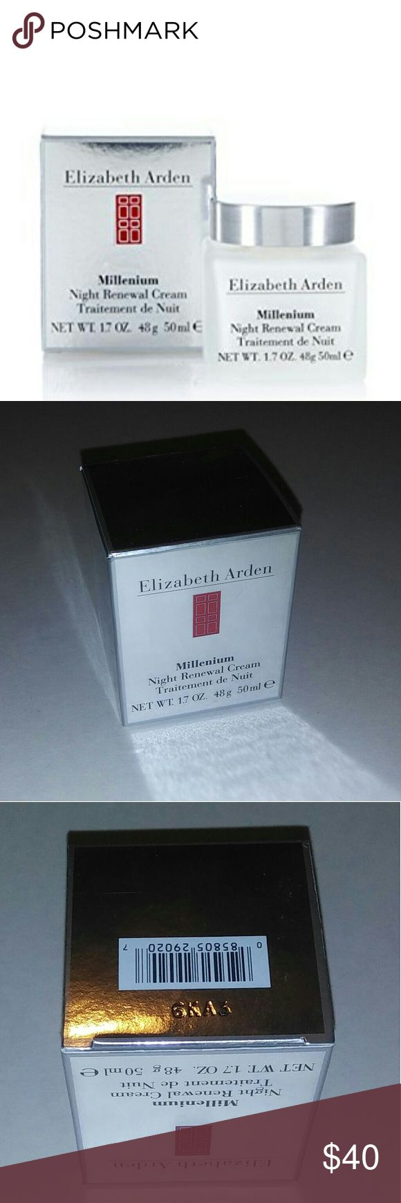 Elizabeth Arden Millenium Night Renewal Cream Brand new in the box!  Elizabeth Arden Millenium Night Cream 1.7 OZ  Description: A luxurious cream that quickly penetrates into skin Replenishes essential moisture to skin surface Instantly evens out dry surface line Boosts cell renewal during sleep at night Skin appears fresh, smooth, supple & luminous on next day Brings overall well-being to your skin Elizabeth Arden Makeup