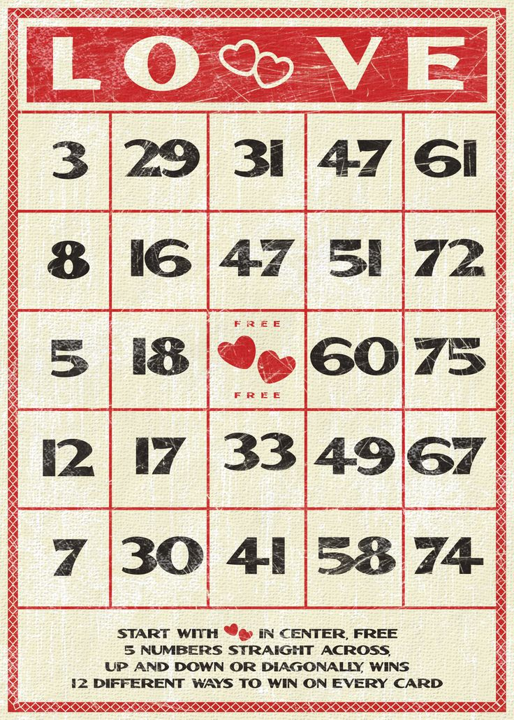 Cute vintage inspired Valentine's Day bingo card printable ...