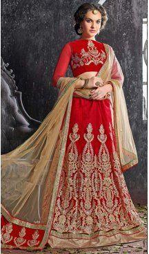 Crimson Color Jacquard Silk A Line Style Lehenga Choli | FH586586339